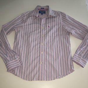 Abercrombie Fitch pink stripe button collar xxl